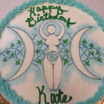 Goddess Symbol printed on a cake.